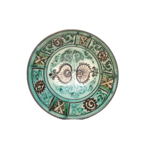 medieval ceramic dish with multicoloured design for sale in uk