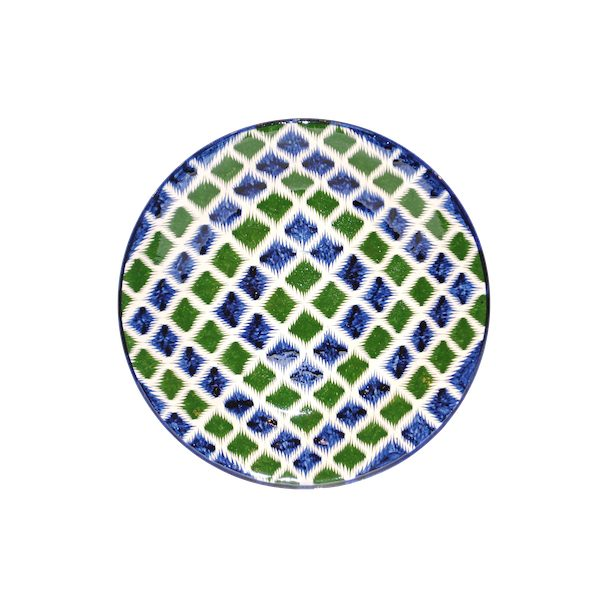majestic ceramic plate in green and blue design for sale