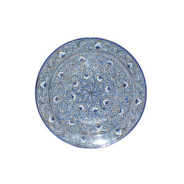 fantastic ceramic round plate with blue design