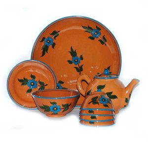 attractive tea service with brown design