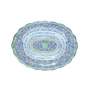 elegant scalloped edged plate with colourful design