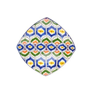 traditional ceramic square plate with colourful design