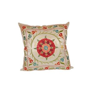 exclusive hand embroidered cushion with colourful design