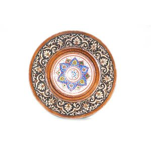 antique style wooden plate with bright design