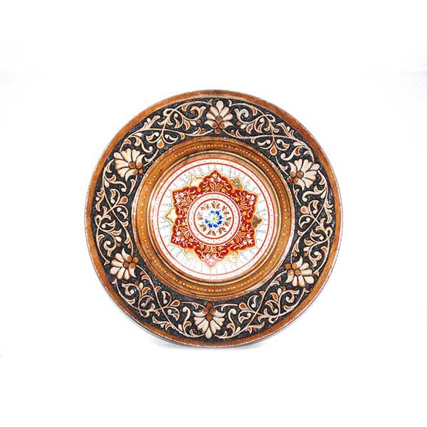 beautiful wooden plate with a multicoloured design
