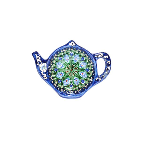 elegant teapot-shaped plate with colourful design