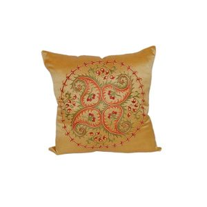 hand embroidered cushion with golden design