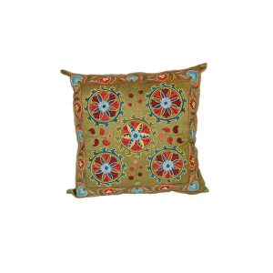 lovely embroidered cushion with green floral design