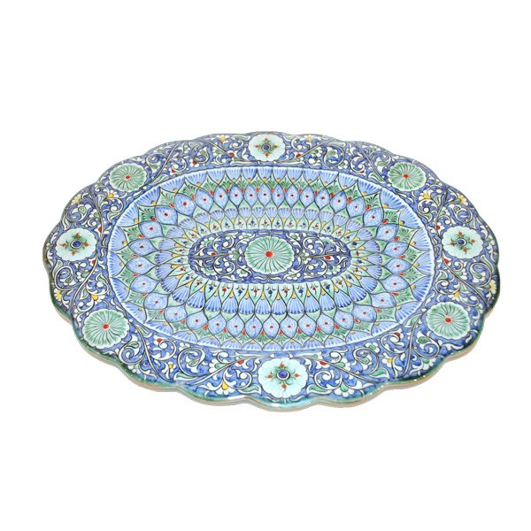 exclusive scalloped edged plate with blue design