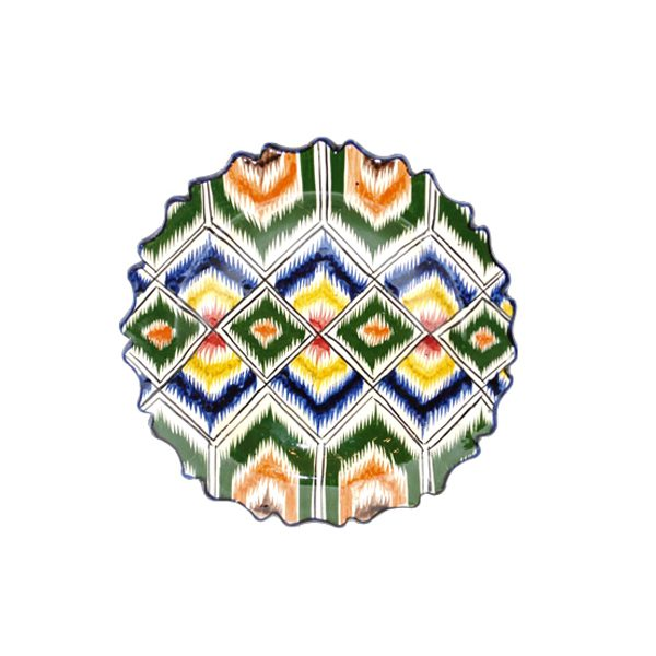 multicoloured ceramic ikat painted plate for sale in uk