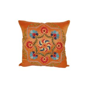 luxurious embroidered cushion with orange design