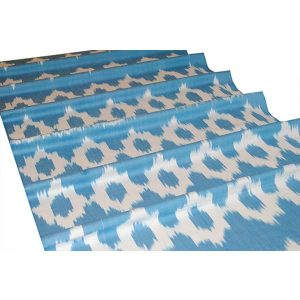 traditional ikat style fabric with floral design