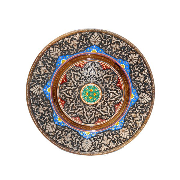 arabesque design wooden plate with multicoloured design