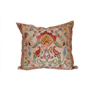 hand embroidered cushion with multicoloured design