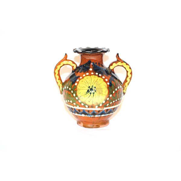 bukhara ceramic vase with colourful design