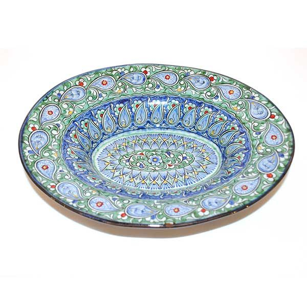 magnificent ceramic oval dish with blue colours