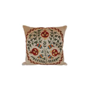 handcrafted cushion with pomegranate design