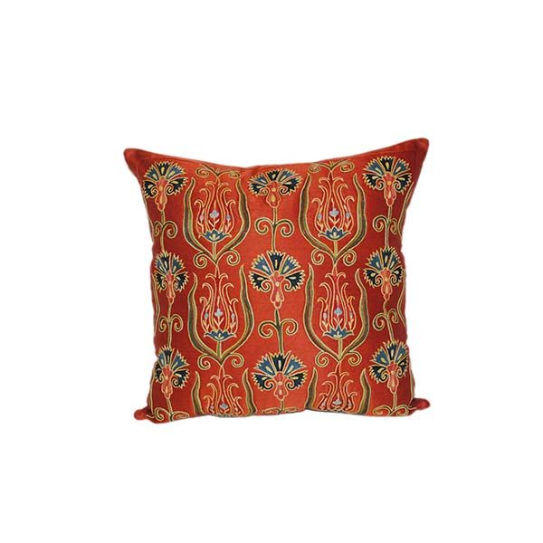 large hand embroidered cushion with red floral design for sale in uk