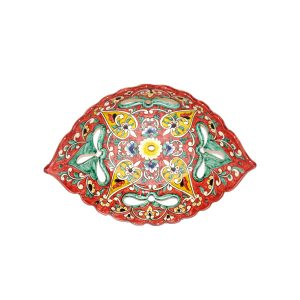 modern scalloped edged dish with multicolored design