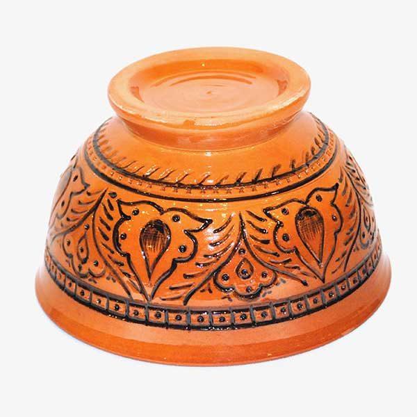 bukhara ceramic bowl in orange design for sale