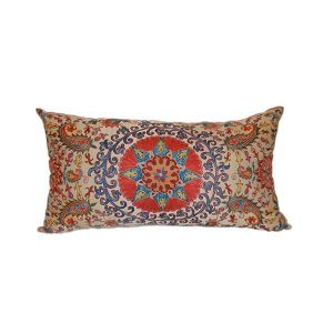 oriental handwoven cushio with multicoloured design