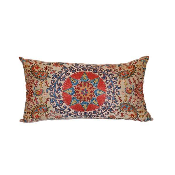 oriental handwoven cushio with multicoloured design