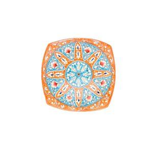 cheap ceramic square plate design in orange colour