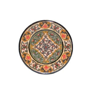 opulent handcrafted plate with multicoloured design