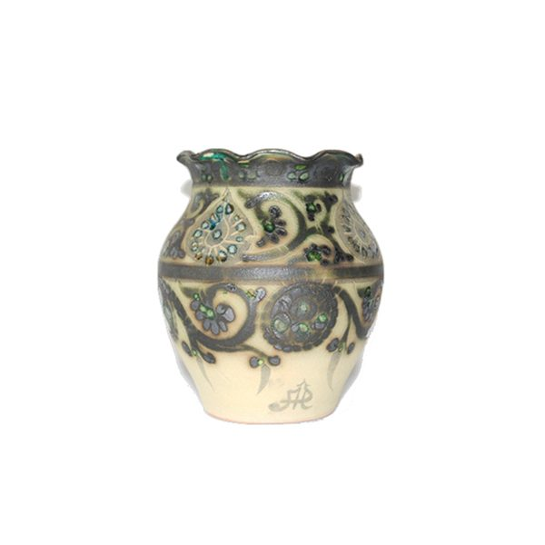 beautiful ceramic vase with multicoloured design