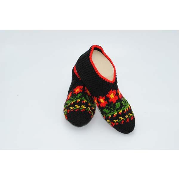 45e3bad12238e Hand Knitted Black & Red Socks