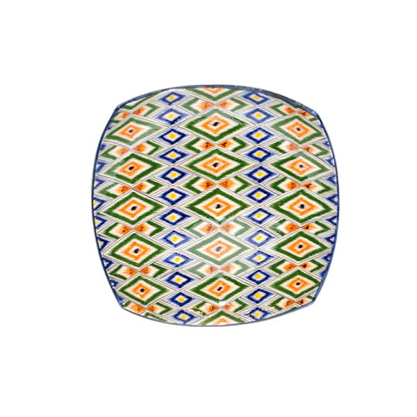 classic ceramic square plate with colourful design