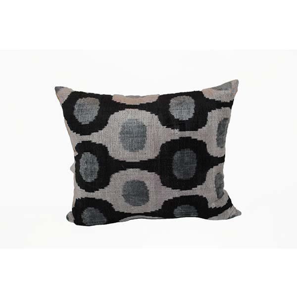 handmade velvet cushion in black and white design