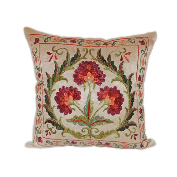 delicate hand embroidered cushion with floral design for sale in uk