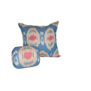 handwoven cotton headrest with blue design