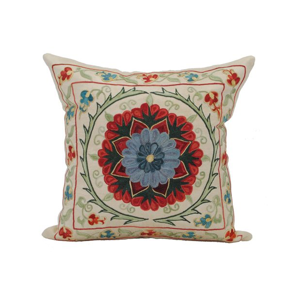 unique hand embroidered cushion with excellent floral design