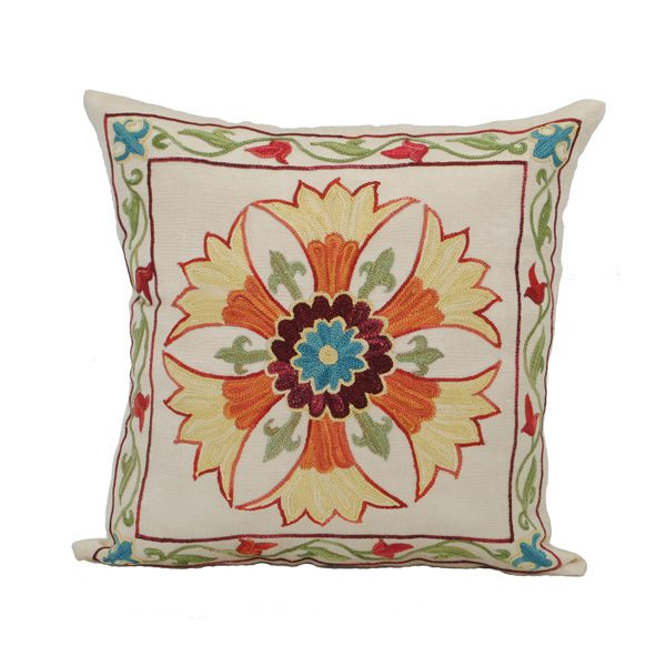 handcrafted cushion with sunflower design